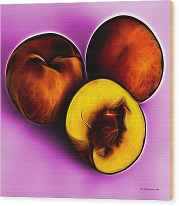 Three Peaches - Magenta Wood Print by James Ahn