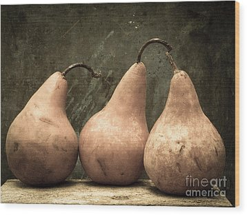 Three Pear Wood Print by Edward Fielding