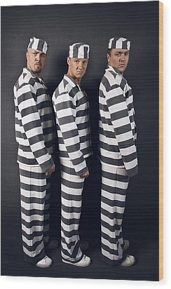 Three Prisoners. Group Of Men In Suits Of Convicts. Wood Print by Kireev Art