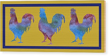 Three Roosters Wood Print by Jenny Armitage