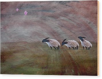 Wood Print featuring the digital art Three Sheep In The Wind And Pigs Fly by Jean Moore