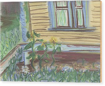 Wood Print featuring the pastel Three Sunflowers By The Porch by Denny Morreale