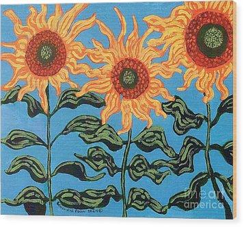 Three Sunflowers IIi Wood Print by Genevieve Esson