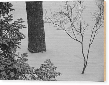 Three Trees In Snow Wood Print by Simone Hester