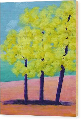 Three Trees On Beach Wood Print by Karin Eisermann