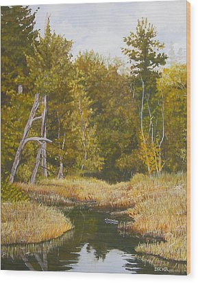 Wood Print featuring the painting Three Turtles Lake Conestee by Robert Decker
