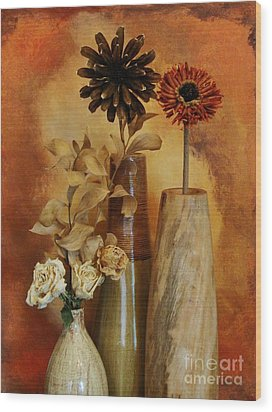 Three Vases Of Dried Flowers Wood Print by Marsha Heiken