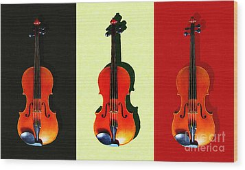 Three Violins . Painterly Wood Print by Wingsdomain Art and Photography