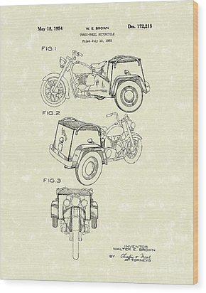 Three Wheel Motorcycle 1954 Patent Art  Wood Print by Prior Art Design