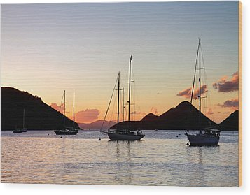Three Yachts Silhouette Wood Print by Anya Brewley schultheiss