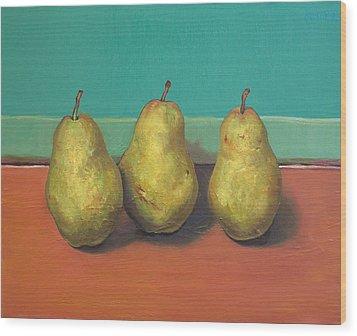 Three Yellow Pears With Green Wall Wood Print by Yuki Komura