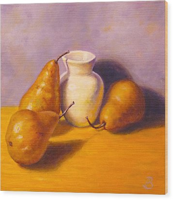 Wood Print featuring the painting Three's A Pear by Joe Bergholm