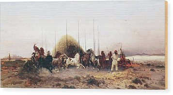 Threshing Wheat In New Mexico Wood Print by Thomas Moran