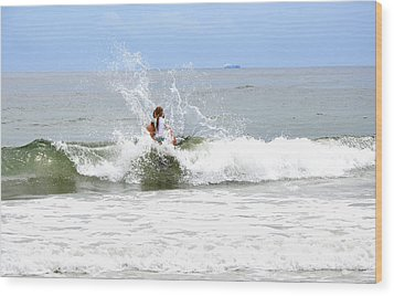 Wood Print featuring the photograph Through The Waves by Maureen E Ritter