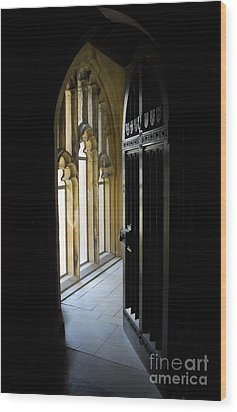 Thru The Chapel Door Wood Print by Cindy Manero