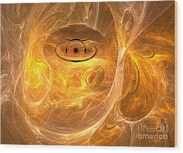 Thunder Eye - Abstract Digital Art Wood Print by Sipo Liimatainen