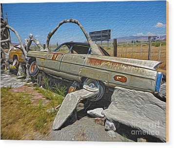 Thunder Mountain Indian Monument - Car Wrecks Wood Print by Gregory Dyer
