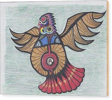 Thunderbird Totem Wood Print by Tony  Nelson