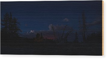 Thunderstorm With Wildfire Glowing From Minarets Vista Mammoth Lakes California Wood Print by Scott McGuire