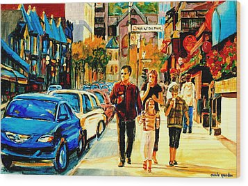 Thursdays Pub On Crescent Street Montreal City Scene Wood Print by Carole Spandau