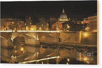 Tiber River And Ponte Vittorio Emanuele II Bridge With St. Peter's Basilica. Vatican City. Rome Wood Print by Bernard Jaubert