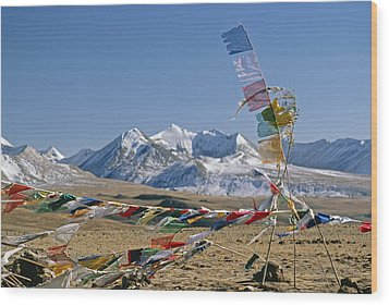 Tibetan Buddhist Prayer Flags Atop Pass Wood Print by Gordon Wiltsie