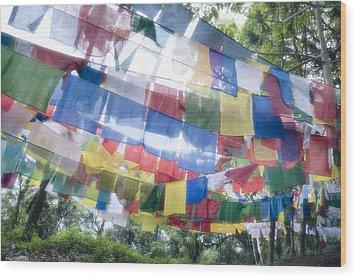 Tibetan Buddhist Prayer Flags Wood Print by Glen Allison