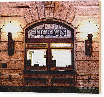 Ticket Booth Wood Print by Anne Raczkowski