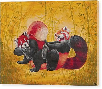 Tickle Fight Wood Print