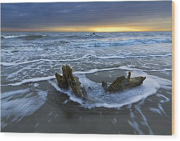 Tides At Driftwood Beach Wood Print by Debra and Dave Vanderlaan