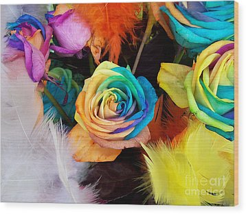 Wood Print featuring the photograph Tie Dyed Roses In Japan by Cheryl McClure