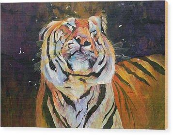 Tiger - Shaking Head  Wood Print