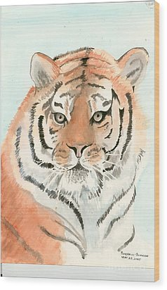 Tiger 1 Wood Print by Delores Swanson