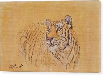 Tiger Alert Wood Print by Michelle Wolff