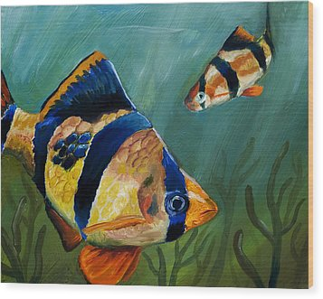 Tiger Barbs Wood Print by Anthony Cavins