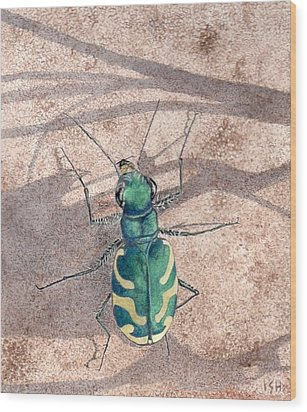 Tiger Beetle Wood Print by Inger Hutton