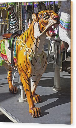 Tiger Carousel Ride Wood Print by Garry Gay