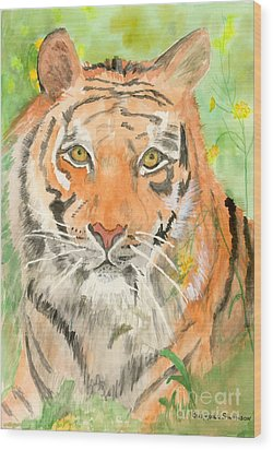 Tiger In The Meadow Wood Print