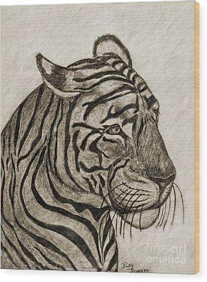 Tiger Iv Wood Print by Debbie Portwood