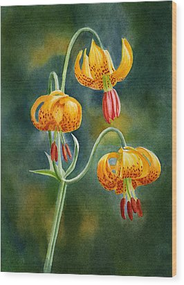 Tiger Lilies #3 Wood Print by Sharon Freeman