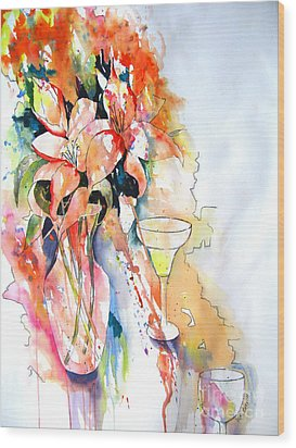 Tiger Lilies Wood Print by Vicki Brevell