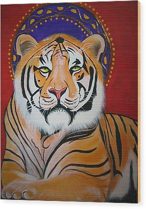 Tiger Saint Wood Print by Christina Miller