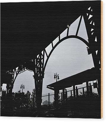 Tiger Stadium Silhouette Wood Print by Michelle Calkins