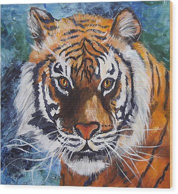 Tiger Wood Print by Trudy Morris