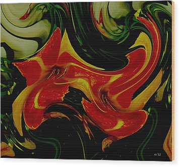 Tigers On The Prowl Abstract Wood Print by Rene Crystal