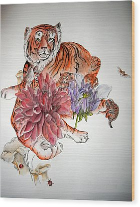Wood Print featuring the painting Tigers The Color Of Orange by Debbi Saccomanno Chan