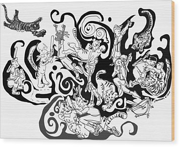 Tigers Vs Indians Wood Print by Susie Morrison