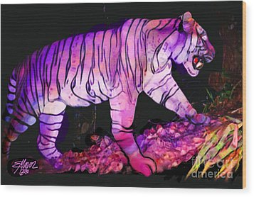 Wood Print featuring the painting Tigertasia by Elinor Mavor