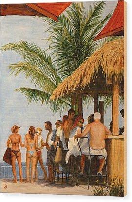Wood Print featuring the painting Tiki Bar by Joe Bergholm