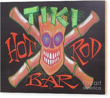 Tiki Hot Rod Bar Wood Print